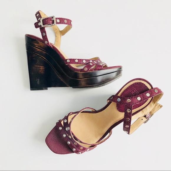 6af42b5206f Frye Shoes - Frye Bridget studded wedge sandal size 7 Purple